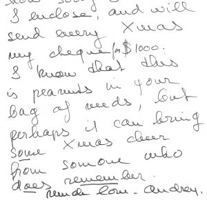 Audrey Hepburn sent us $1,000 every year for decades. She and Mrs Jack Hawkins were remarkable at extracting donations from Hollywood actors for the charity.