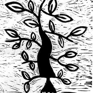 linocut of a tree
