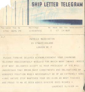 Olivier's telegram